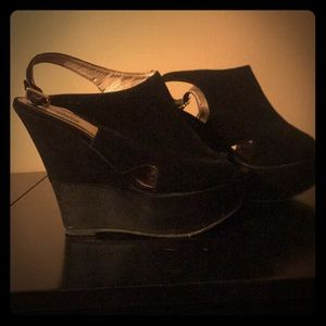 Adorable black wedges worn once!!!